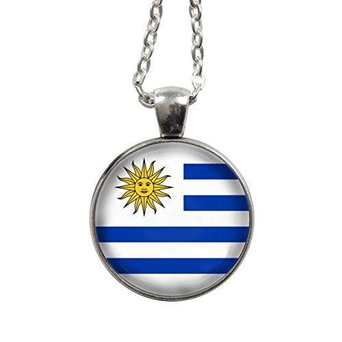 Kette - Uruguay Flagge/Fahne - WM 2018 - Halskette - Gliederkette 75cm - silber - Cabochon 25mm Anhänger - blau weiß - Handgemacht - Uruguay Wm