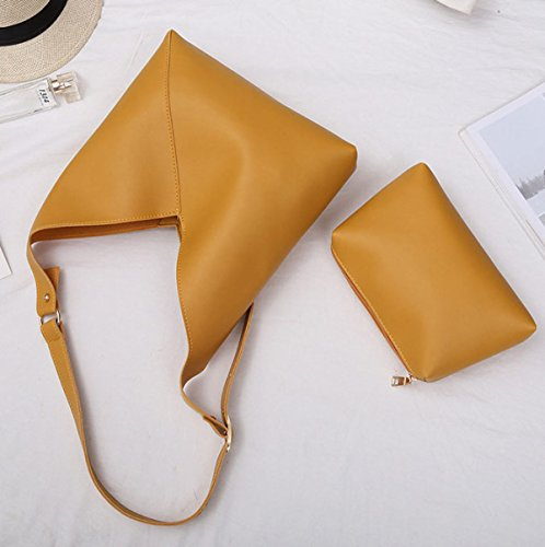 ZPFME Womens Tote Handtasche Herbst Und Winter Sets Mode Weich Einfach Shopper Umhängetasche Yellow
