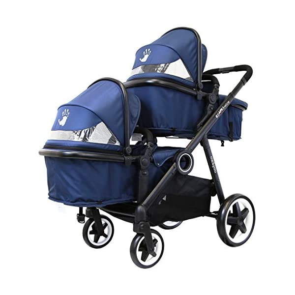 iSafe Tandem Pram me&You - 2 Tone Navy (Navy) iSafe Safety tested and certified to BS EN 1888 and BS EN 1466 for the UK & Europe Seat Units Carrycot Convertible All Adaptors (Built In) Extra large shopping basket 1