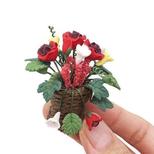 Webla Künstliche 1/12 Miniatur Puppenhaus gefälschte grüne Pflanze Blume rosa Fee Garten