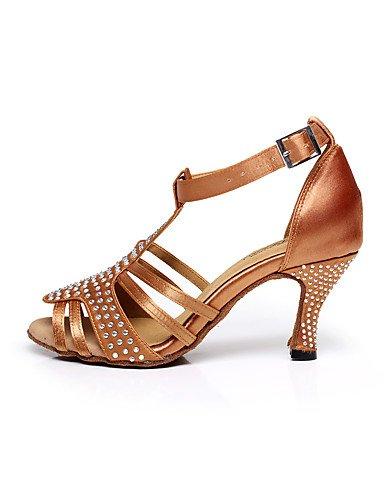 La mode moderne femmes Sandales Chaussures de danse/Satin Satin Paillettes mousseux mousseux/latin/Glitter Sandals Salsa / HeelProfessional évasée US6/EU36/UK4/CN36