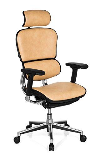 hjh OFFICE 652261 Luxus Chefsessel ERGOHUMAN Echtes Leder Beige Hochwertiger Bürodrehstuhl mit Vollausstattung