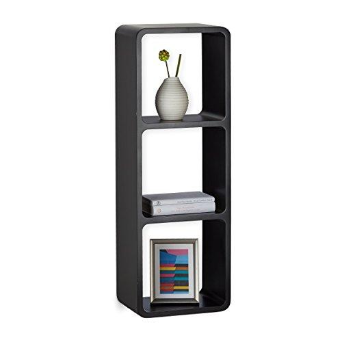 Relaxdays Wandregal mit 3 Fächern, offenes Schweberegal oder Standregal, 3 Cubes für Deko, CDs, Bücher, 90x30cm, schwarz