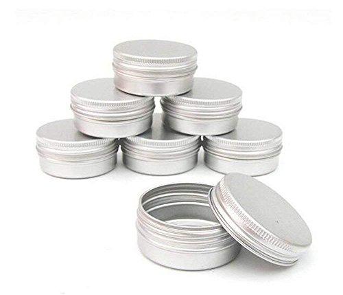 Pack von 12 Aluminium Tin Jars Runde Topf Schraubverschluss Deckel für Lippenbalsam Nail Art Creme Kosmetik bilden Lidschatten Pulver Topf Jar Zinn Fall Container (10ML) -