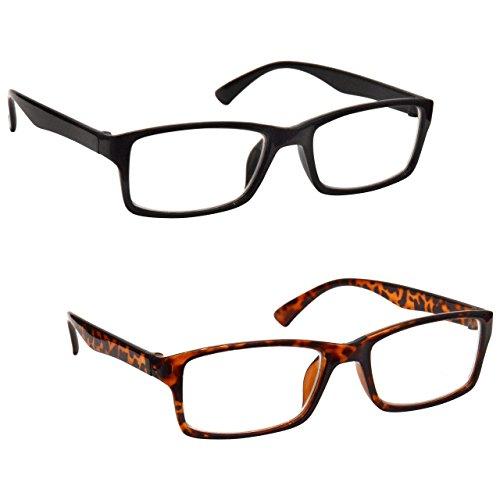 La Compañía Gafas De Lectura Negro Y Marrón Carey Lectores Valor Pack 2 Hombres Mujeres UVR2092BK_BR Dioptria +2,00