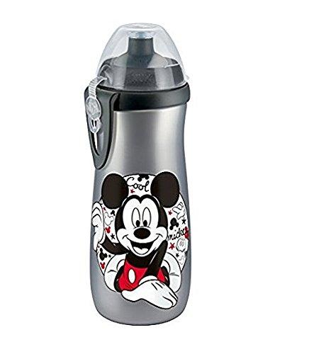 NUK 10255259 Mickey Sports Cup mit extragroßem Volumen von 450 ml, mit Push-Pull-Tülle, ab 36 Monaten, BPA frei, 1 Stück, silber