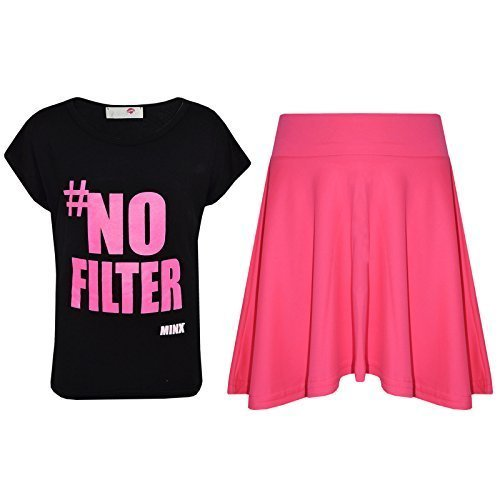 Kostüm Tag Hash - A2Z 4 Kids® Kinder Mädchen # No Filter Aufdruck Crop Top & Stilvoll Mode Skater - Hash Tag Crop & Skirt Set Black 13