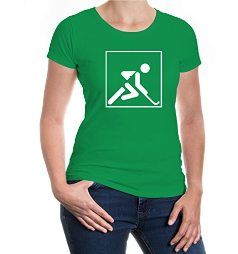 buXsbaum® Damen Kurzarm Girlie T-Shirt bedruckt Feldhockey Piktogramm | field hockey Fanshirt | XS kellygreen-white Grün (Jersey Hockey Damen)