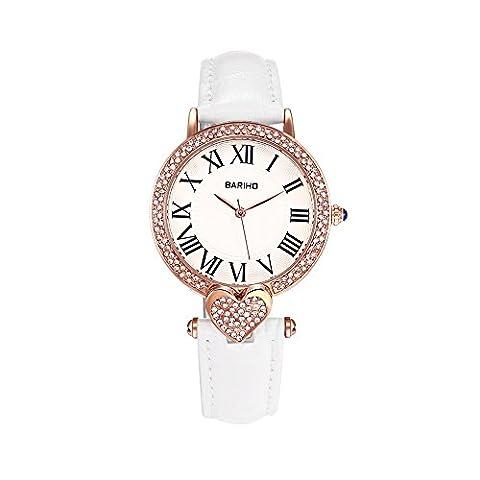 Hongboom Blanc véritable de bande de cuir montre bracelet étanche à 30m pour femme décontracté Business Quartz Analogique montre de zircon Fashion Robe Montre-bracelet