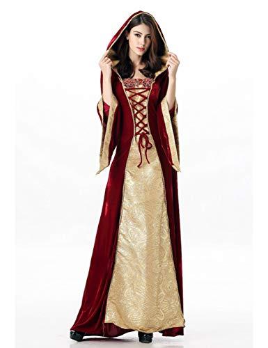 BGFDSV Erwachsene Frauen Halloween Mittelalterlichen Königin Prinzessin Royal Palace Kostüm Robe Renaissance Mit Kapuze Kleid Maxi Robe Kleid Für Dame, XL, Königin (Royal Renaissance Kostüm)