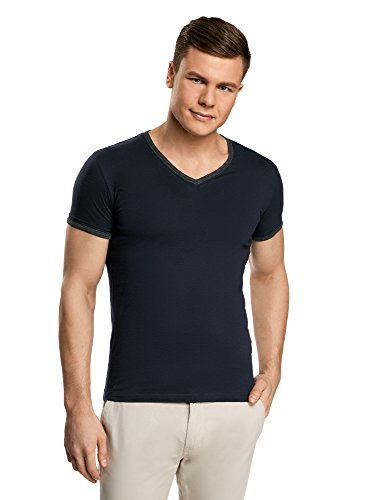 oodji-ultra-uomo-t-shirt-con-scollo-a-v-e-finitura-a-contrasto-blu-it-48-eu-50-m