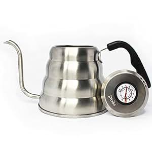 iNeibo Bollitore per caffè/ termometro integrato , Beccuccio a collo di cigno in acciaio inox / tappetino in silicone per il bonus (1,2L)