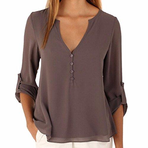 Qiyun.Z Womens Casual Chiffon Tops Blouse Ladies Loose Long Sleeve V Neck Irregular Hem Shirts Top