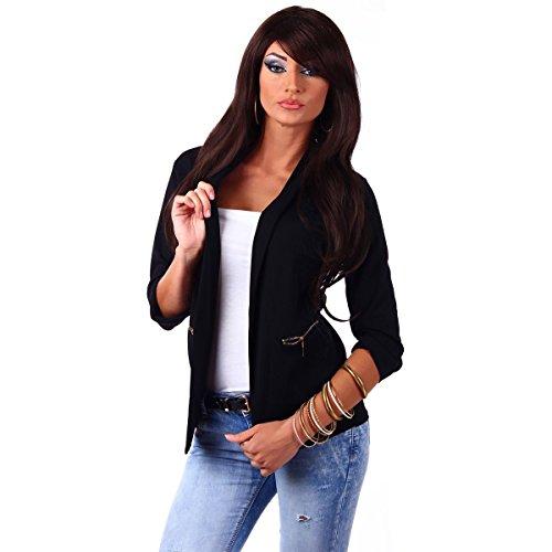 10744 Fashion4Young Damen Kurzjacke Blazer Jäckchen Jacke knopflos mit Reverse Gr.36/38 (S/M=36/38, Schwarz)