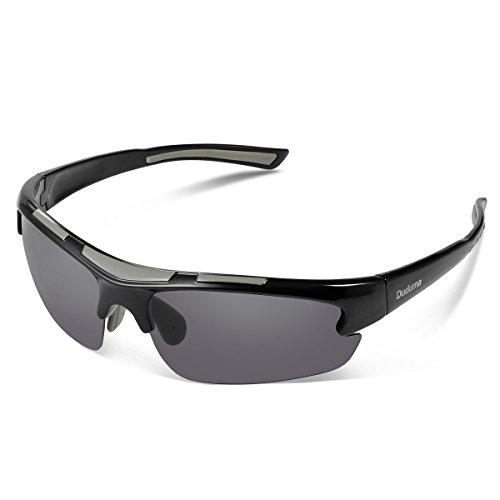 Duduma Gafas de Sol Deportivas Polarizadas Perfectas Para Esquiar Golf Correr Ciclismo TR62 Súper Liviana Para Hombre y Para Mujer (marco negro con lente negro)