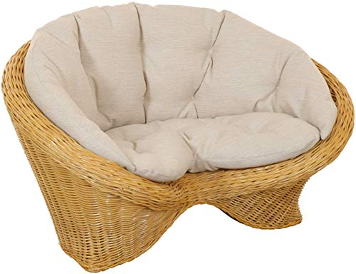korb.outlet Lotus-Stuhl Meditationssessel aus echtem Rattan/Yoga Sitz zur Meditation Sessel (Honig mit Kissen)