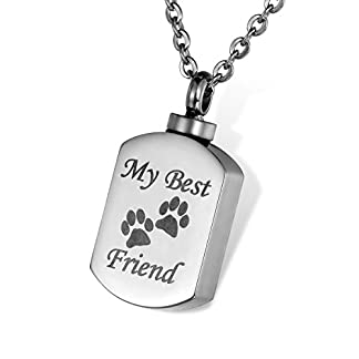 HOUSWEETY Pet Cremation Jewellery My Best Friend Dog Cat Paws Urn Pendant Necklace - Memorial Ashes Keepsake 16