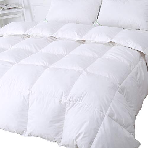 Luxus-Steppdecke aus Gänsefedern und Gänsedaunen, 13,5Tog, Hülle aus 100{008368356555303a7ec7d5a9f6cc742dfe56e42c9d7bcf5ef558809b83581441} Baumwolle, milben- und daunendichter Stoff, weiß, von Duo-V Home, weiß, 200x200cm