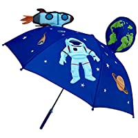 HECKBO 3D children umbrella space space space astronaut   with rocket, earth, planets, satellite with window   children umbrella or parasol for boys and girls   umbrellas for school children