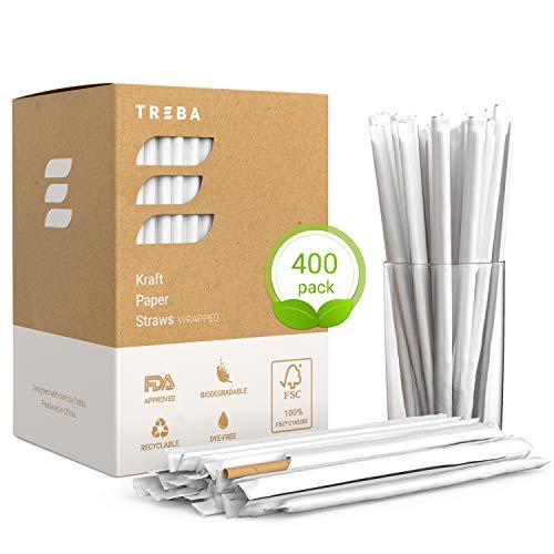 TREBA 400 Pajitas Biodegradables de Papel Kraft- Pajitas para Beber En