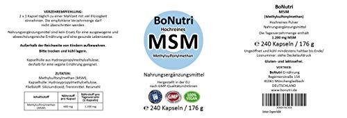 BoNutri MSM Schwefel Pulver 240 Kapseln 1.200 mg Methylsulphonylmethan pro Tag Beste Qualität Hochrein konzentriert Hohe Tagesdosis Ohne Magnesiumstearat 4-Monatsbedarf Vegan Glutenfrei Laktosefrei Rückgaberecht