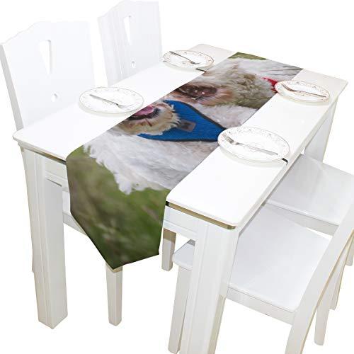 Yushg Weiß Springen Hündchen Kommode Schal Stoffbezug Tischläufer Tischdecke Tischset Küche Esszimmer Wohnzimmer Home Hochzeitsbankett Decor Indoor 13x90 Zoll (Hündchen Gesichter Für Halloween)
