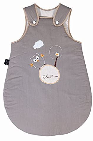 P'tit Basile - Petite Gigoteuse Naissance bébé brodée mixte Chouette - toutes saisons - 70 cm - 0-6 mois - Coloris Beige - Coton