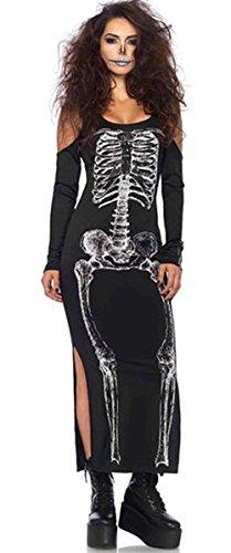 I-CURVES Womens sexy spanischer Tag der Toten Halloween-Kostüm-Schwarzweiss-Zuckerschädel-Kleidergröße 40-42