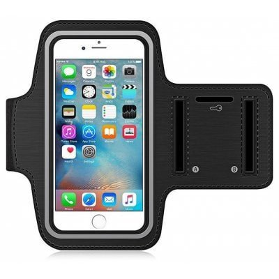 Samsung Galaxy C9 PRO compatible Armband for Running by Azacus | Mobile Holder for your entire jogging and exercise time | Black in colour with glowing white stripe | Both for Male and Female | Adjustable Free Size | Screen Size upto 6 inch | Hole for your Earphone or audio wire | Comes with Six Months Replacement Guarantee |  available at amazon for Rs.299