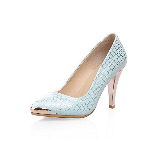 VogueZone009 Damen Gemischte Farbe Stiletto Ziehen Auf Spitz Zehe Pumps Schuhe Blau
