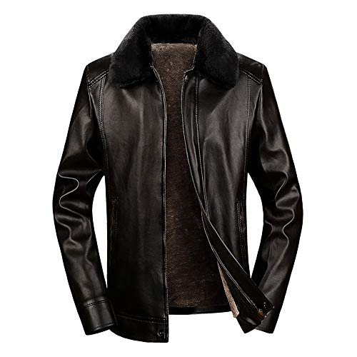 Amphia ☛Große Pelzkragenjacke für Herren - Dicke Reverslederjacke☚Herren Winter verdickt Thermal Short Fleece Mode Turn-Kragen Ledermäntel
