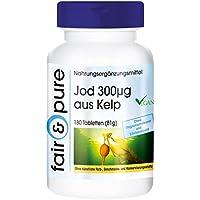 Jod 300μg aus der Braunalge Kelp, Kelp-Extrakt aus dem Nordatlantik, vegan, natürlich, hochdosiert, 180 Kelp-Tabletten