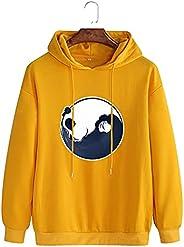 Zzple Mens Cotton Cartoon Panda Print Drop Shoulder Hoodies With Pocket