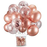 20 Pcs 12 Inch balloons Decorations Set Including Rose Gold Latex balloons and Foil Confetti Filled balloons for Party Festival Christmas Birthday Wedding Baby Shower Party Decorations Supplies