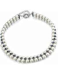 Luca Barra Collier Femme en Métal Blanc avec Perle Synthétique et Cristal Bleu Marine, Cm 42, 100 Grammes