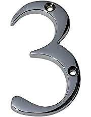 "Wigano 4""Inch Brass Chrome Finish Stylish House Door Numbers (Number 3)"