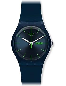 Swatch Damen-Armbanduhr Blue Rebel Analog Quarz Plastik SUON700