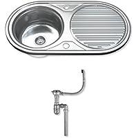 Dihl–Papelera con ks-1062-wst11,0cuenco individual fregadero de cocina de acero inoxidable con escurridor y residuos–CHROME