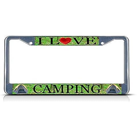 I Love campeggio resistente in metallo cromato targa tag Frame Border
