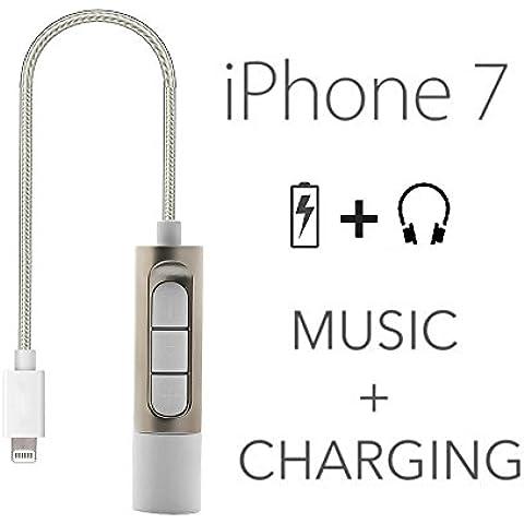 Bester® 2 en 1 mm a 3,5 mm Rayo de Energía Cargar Audio Toma de Auriculares Cable Adaptador para IPhone 7/7 Plus- Rayo Puerto de Carga del Controlador y de la Música (sin Micrófono)