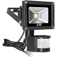[Patrocinado]LTE 10W Foco con Sensor Movimiento Proyector LED Exterior Iluminación de Exterior Segura, Impermeable IP65, Lámpara de luz blanca para Jardín, Patio, Camino