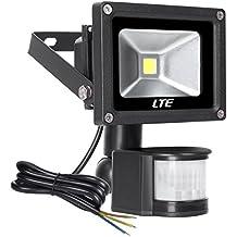 LTE 10W Foco con Sensor Movimiento, Proyector LED exterior, Iluminación de Exterior Segura, Impermeable IP65 Lámpara de luz blanca para Jardín, Patio, Camino, Yarda