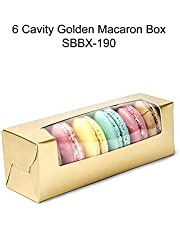 Cake Decor Golden 6 Macaron Boxes with Clear Window, Cupcake Carriers, Golden, 10 Pc Pack
