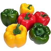 Lorigun Artificial Bell Peppers Verduras Falsas Pimientos Coloridos para decoración, Vegetales Decorativos, pimientos Rojos, Verdes y Amarillos 6 Piezas (Cada Color 2 Piezas)