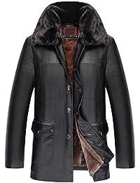 81661654df481 Homme Hiver Chaud Veste en Cuir Couleur Pure Collier De Support Fermeture  éclair Faux Cuir Manteau d affaires…