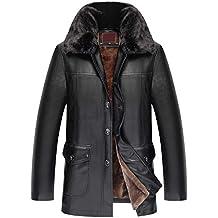 Homme Hiver Chaud Veste en Cuir Couleur Pure Collier De Support Fermeture  éclair Faux Cuir Manteau dfdc53d104a