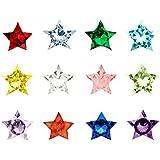 Contever® Juego de 120 Zircon Crystal Birthstones de 5 mm para Flotante Locket regalo (Floating colgante no incluidos) - Estrella