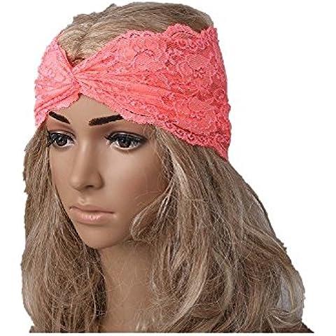 Auxma Moda Mujeres Headwear Twist Sport Yoga Encaje Diadema turbante pañuelo en la cabeza wrap accesorio para el pelo naranja