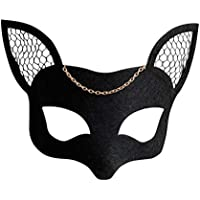 BESTOYARD Máscara de Fieltro de Malla para Mujer Fox Máscara de Mascarada Negra Cosplay Fiesta de Disfraces Accesorios de Fiesta de Navidad de Halloween de Bricolaje (Negro)
