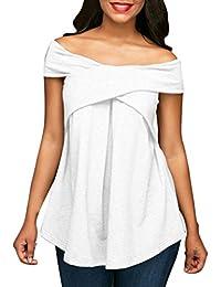 Yeamile���� Camiseta de Mujer Tops Suelto Blusa Causal Camisetas Ocasionales Sudadera Gris de Manga Corta para Mujer Camiseta Blanca con Hombros Descubiertos (Blanco, S)